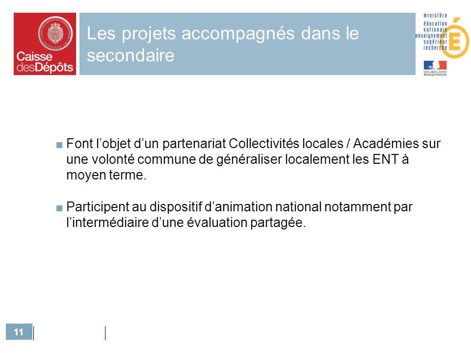 11 Les projets accompagnés dans le secondaire Font lobjet dun partenariat Collectivités locales / Académies sur une volonté commune de généraliser loc