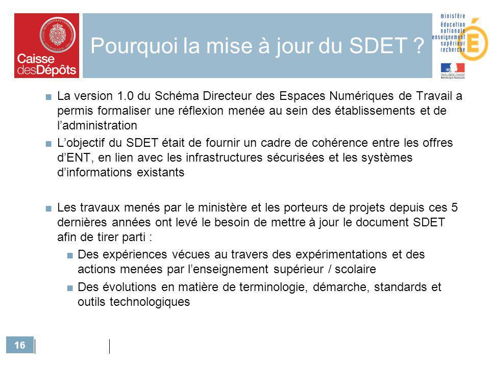 16 Pourquoi la mise à jour du SDET ? La version 1.0 du Schéma Directeur des Espaces Numériques de Travail a permis formaliser une réflexion menée au s