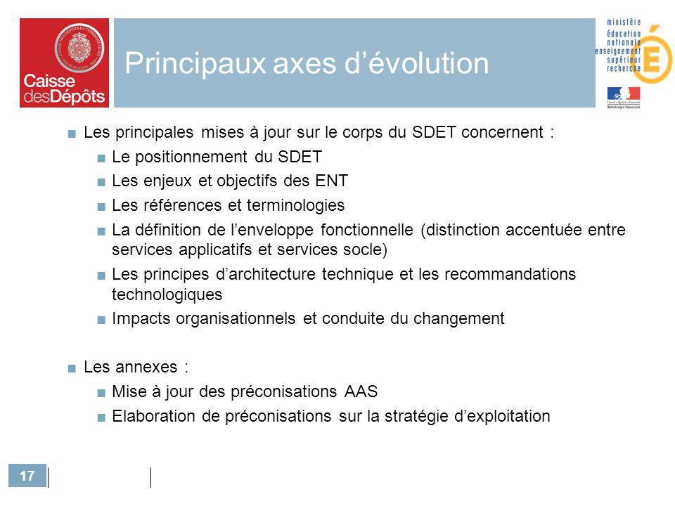 17 Principaux axes dévolution Les principales mises à jour sur le corps du SDET concernent : Le positionnement du SDET Les enjeux et objectifs des ENT