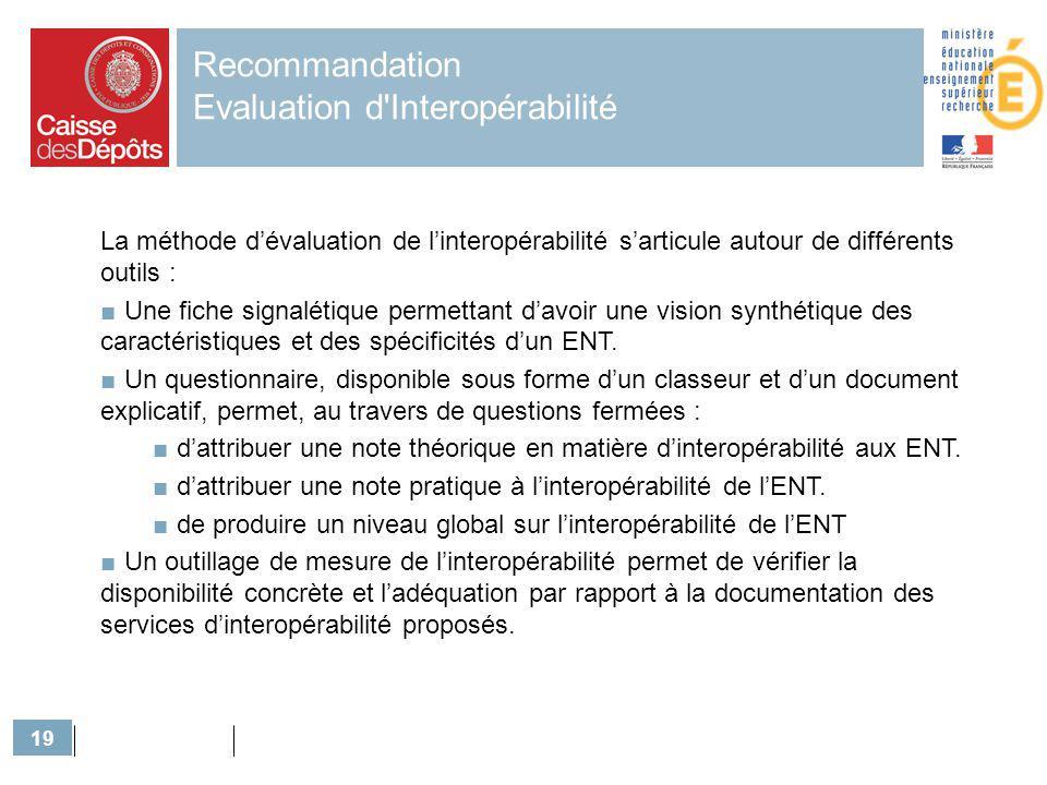 19 Recommandation Evaluation d'Interopérabilité La méthode dévaluation de linteropérabilité sarticule autour de différents outils : Une fiche signalét
