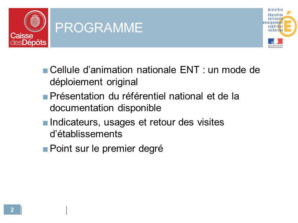 2 PROGRAMME Cellule danimation nationale ENT : un mode de déploiement original Présentation du référentiel national et de la documentation disponible