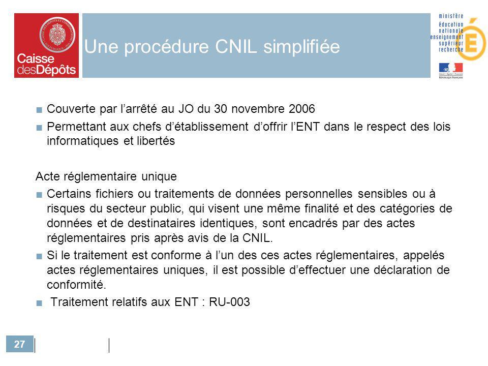 27 Une procédure CNIL simplifiée Couverte par larrêté au JO du 30 novembre 2006 Permettant aux chefs détablissement doffrir lENT dans le respect des l