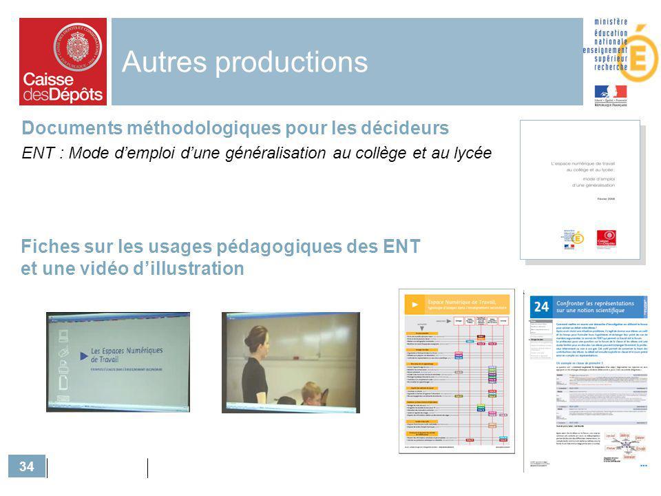 34 Autres productions Documents méthodologiques pour les décideurs ENT : Mode demploi dune généralisation au collège et au lycée Fiches sur les usages