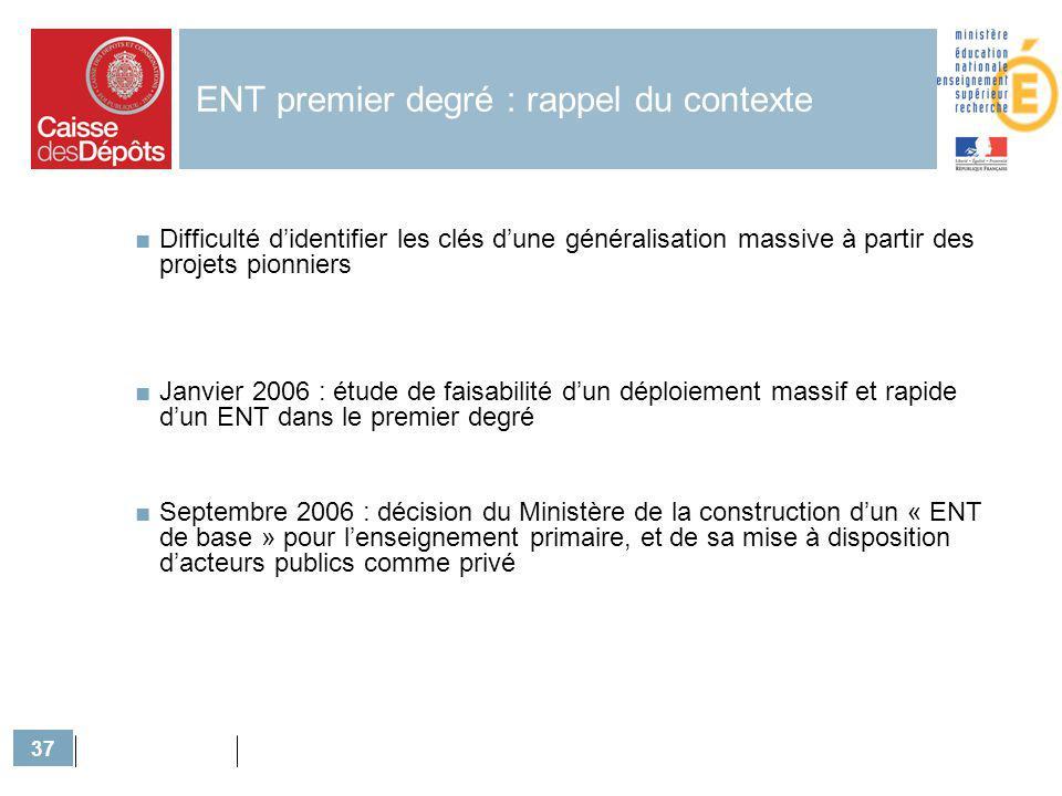 37 ENT premier degré : rappel du contexte Difficulté didentifier les clés dune généralisation massive à partir des projets pionniers Janvier 2006 : ét