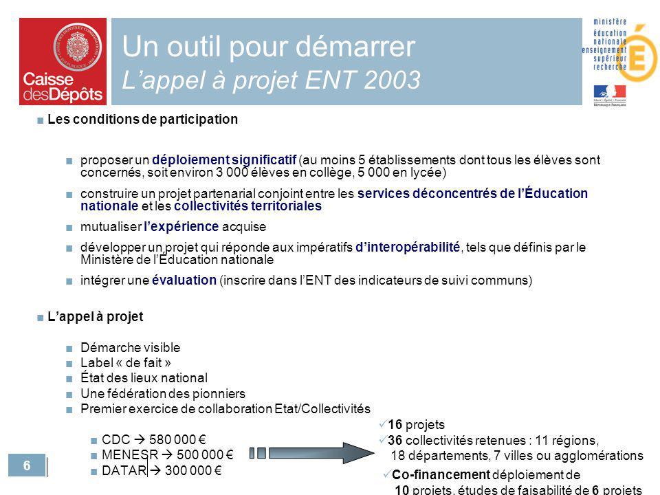 6 Un outil pour démarrer Lappel à projet ENT 2003 Les conditions de participation proposer un déploiement significatif (au moins 5 établissements dont