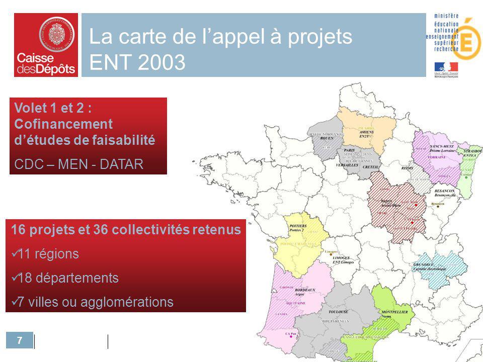 7 La carte de lappel à projets ENT 2003 Volet 1 et 2 : Cofinancement détudes de faisabilité CDC – MEN - DATAR 16 projets et 36 collectivités retenus 1
