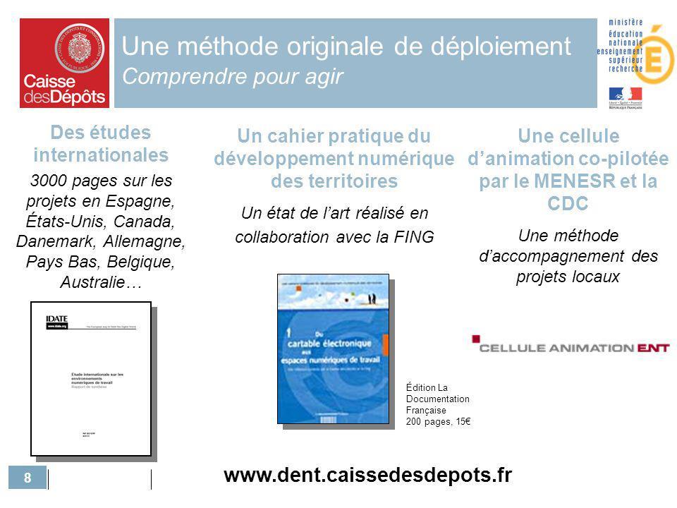 8 Une méthode originale de déploiement Comprendre pour agir Des études internationales 3000 pages sur les projets en Espagne, États-Unis, Canada, Dane