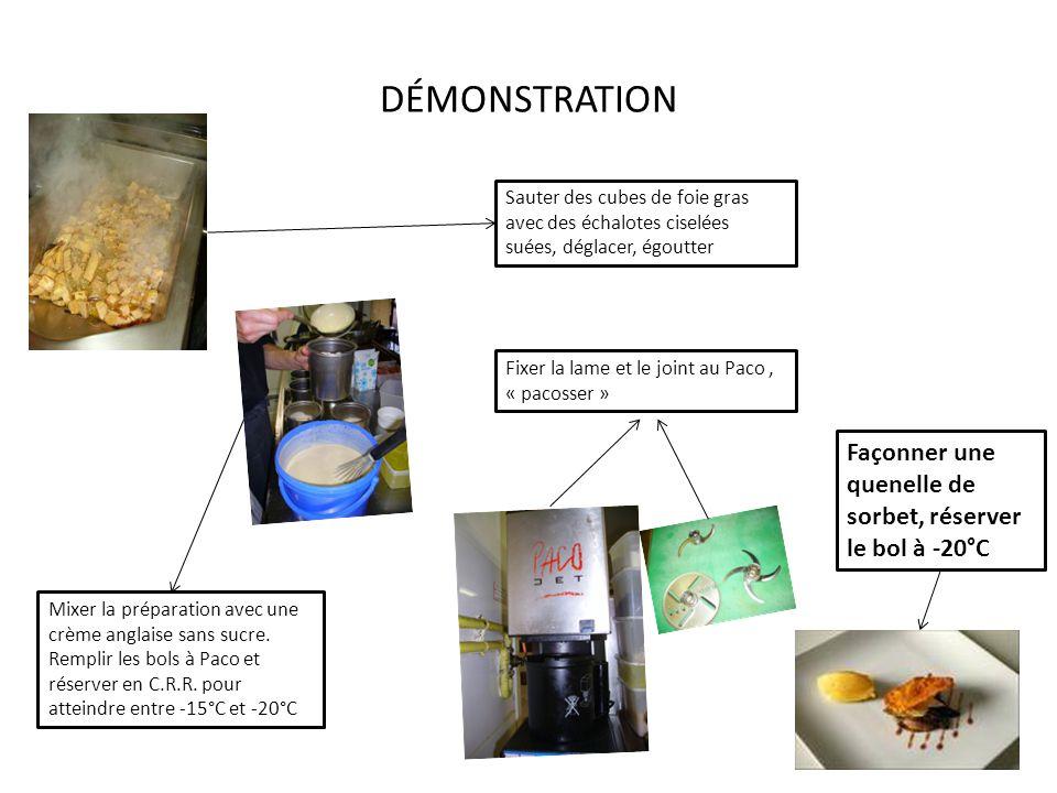 DÉMONSTRATION Sauter des cubes de foie gras avec des échalotes ciselées suées, déglacer, égoutter Mixer la préparation avec une crème anglaise sans sucre.
