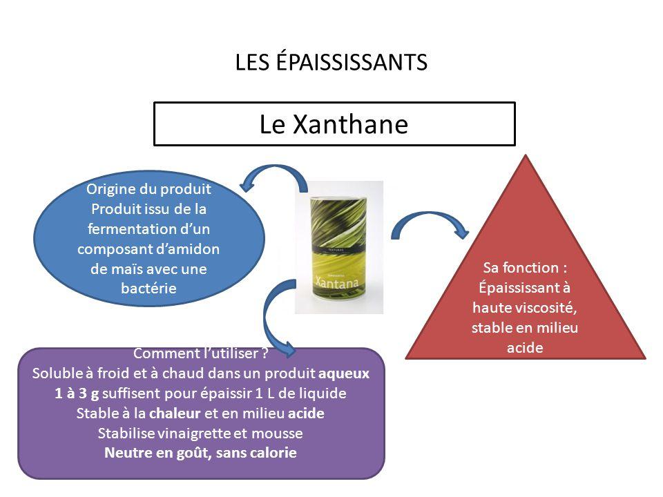 LES ÉPAISSISSANTS Le Xanthane Origine du produit Produit issu de la fermentation dun composant damidon de maïs avec une bactérie Sa fonction : Épaississant à haute viscosité, stable en milieu acide Comment lutiliser .