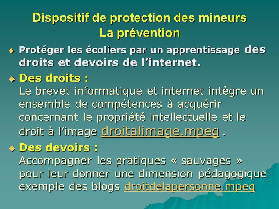 Dispositif de protection des mineurs La prévention Protéger les écoliers par un apprentissage des droits et devoirs de linternet.