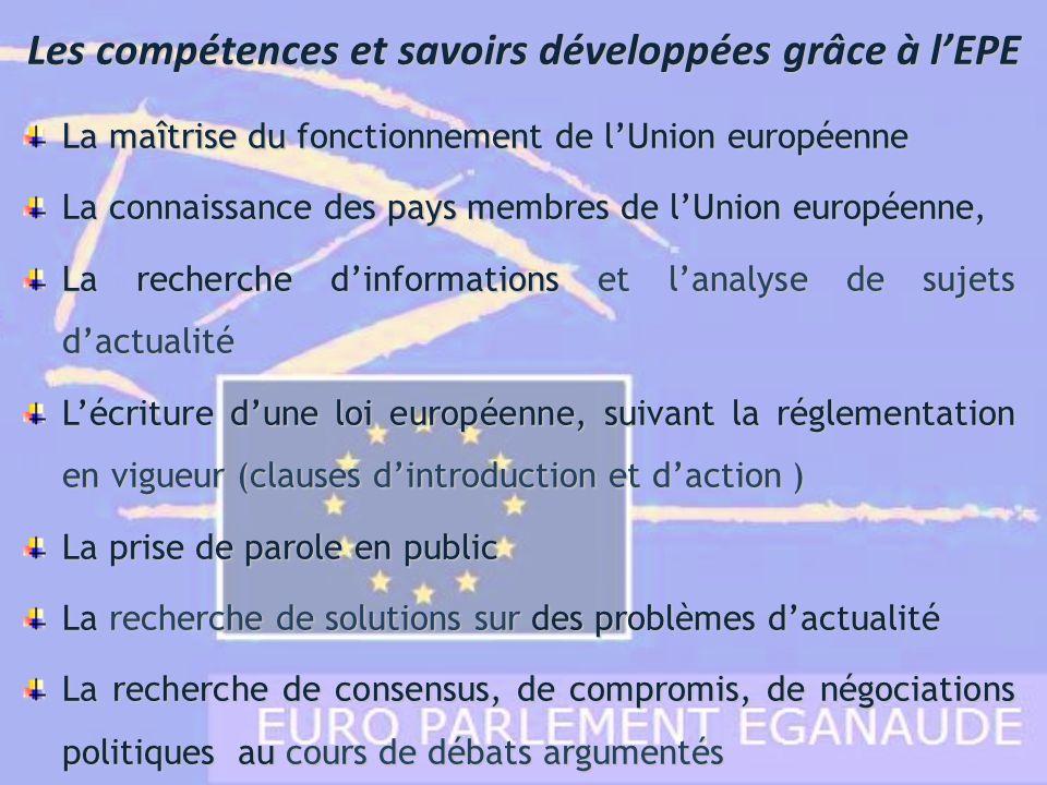 La maîtrise du fonctionnement de lUnion européenne La connaissance des pays membres de lUnion européenne, La recherche dinformations et lanalyse de su