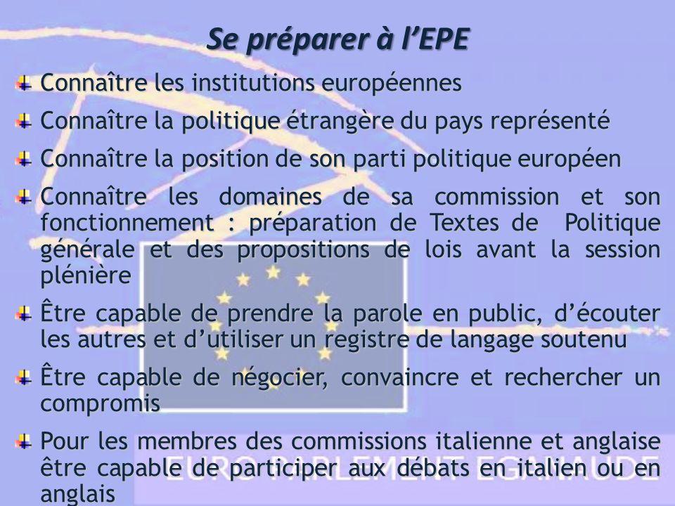 Se préparer à lEPE Connaître les institutions européennes Connaître la politique étrangère du pays représenté Connaître la position de son parti polit