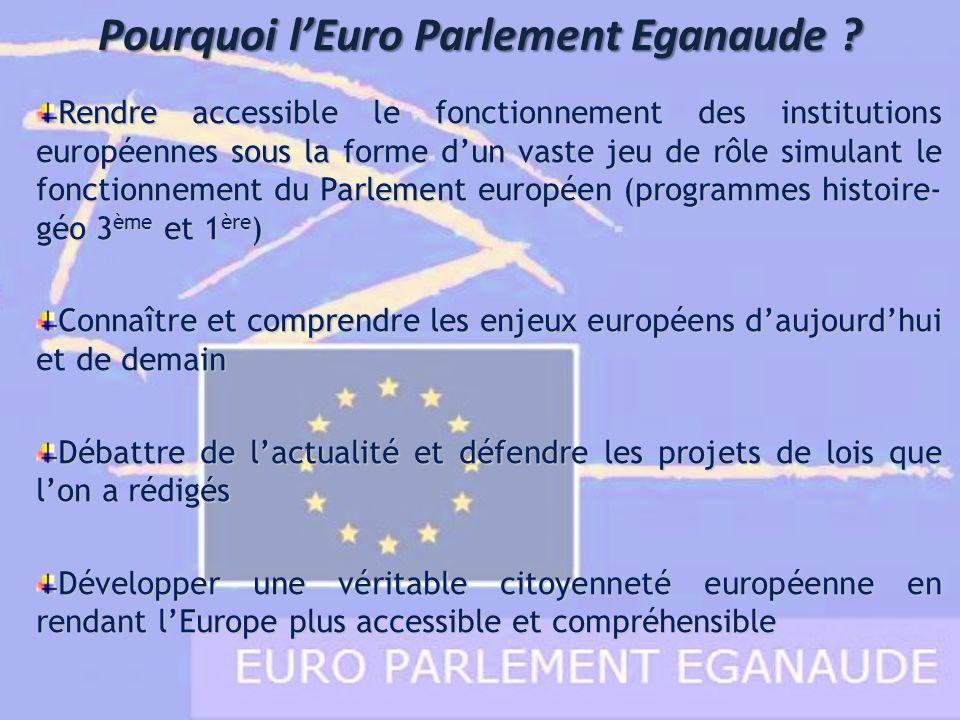 Pourquoi lEuro Parlement Eganaude ? Rendre accessible le fonctionnement des institutions européennes sous la forme dun vaste jeu de rôle simulant le f