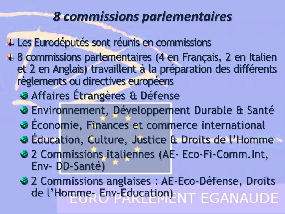 8 commissions parlementaires Les Eurodéputés sont réunis en commissions 8 commissions parlementaires (4 en Français, 2 en Italien et 2 en Anglais) tra