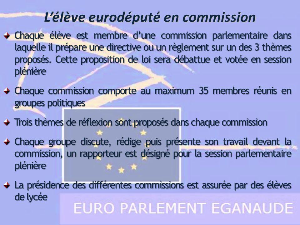 Chaque élève est membre dune commission parlementaire dans laquelle il prépare une directive ou un règlement sur un des 3 thèmes proposés. Cette propo