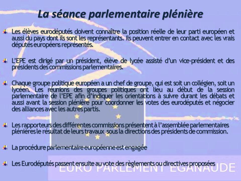 Les élèves eurodéputés doivent connaître la position réelle de leur parti européen et aussi du pays dont ils sont les représentants. Ils peuvent entre