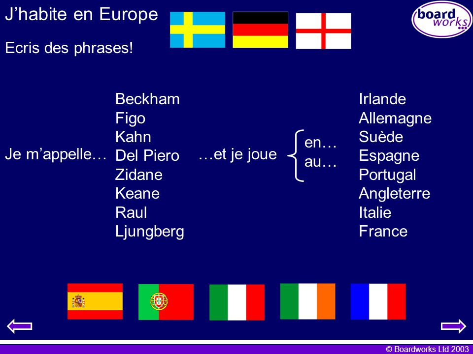 © Boardworks Ltd 2003 Jhabite en Europe Ecris des phrases.