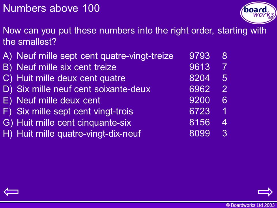 © Boardworks Ltd 2003 Numbers above 100 Now can you put these numbers into the right order, starting with the smallest.
