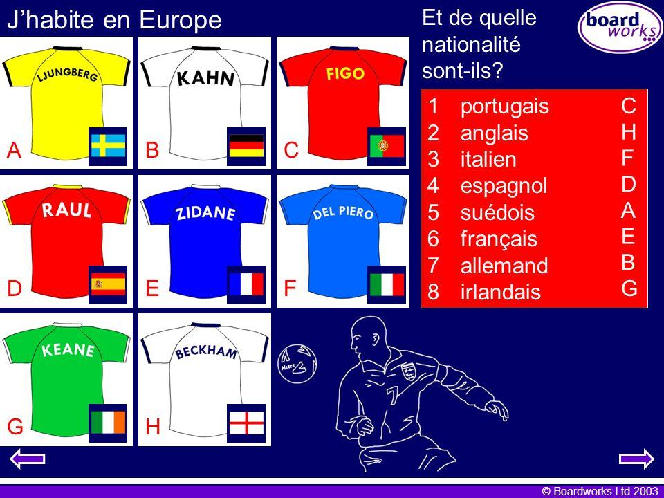 © Boardworks Ltd 2003 Jhabite en Europe 1portugais 2anglais 3italien 4espagnol 5suédois 6français 7allemand 8irlandais ABC DEF GH C H F D A E B G Et de quelle nationalité sont-ils?