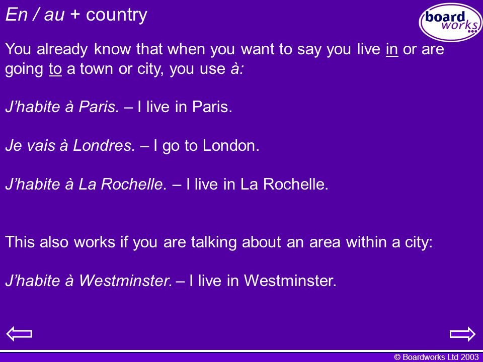 © Boardworks Ltd 2003 En / au + country What about if you want to talk about living in or going to a country.
