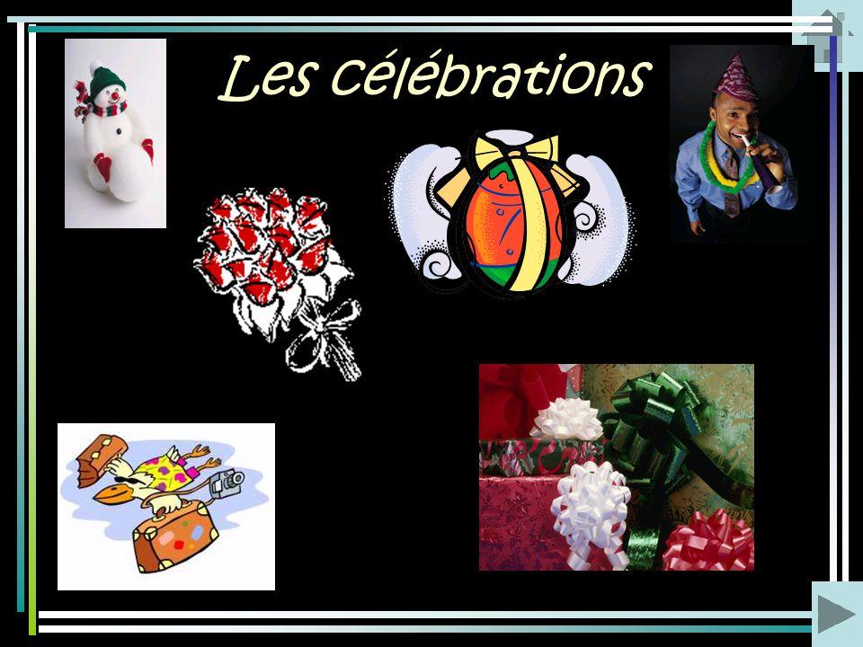 Les célébrations Joyeux anniversaire! Bonne année! Bon voyage! Bon appétit! R établis-toi vite! Joyeux Noël! Joyeuses Pâques! Bonnes vacances! Safe jo