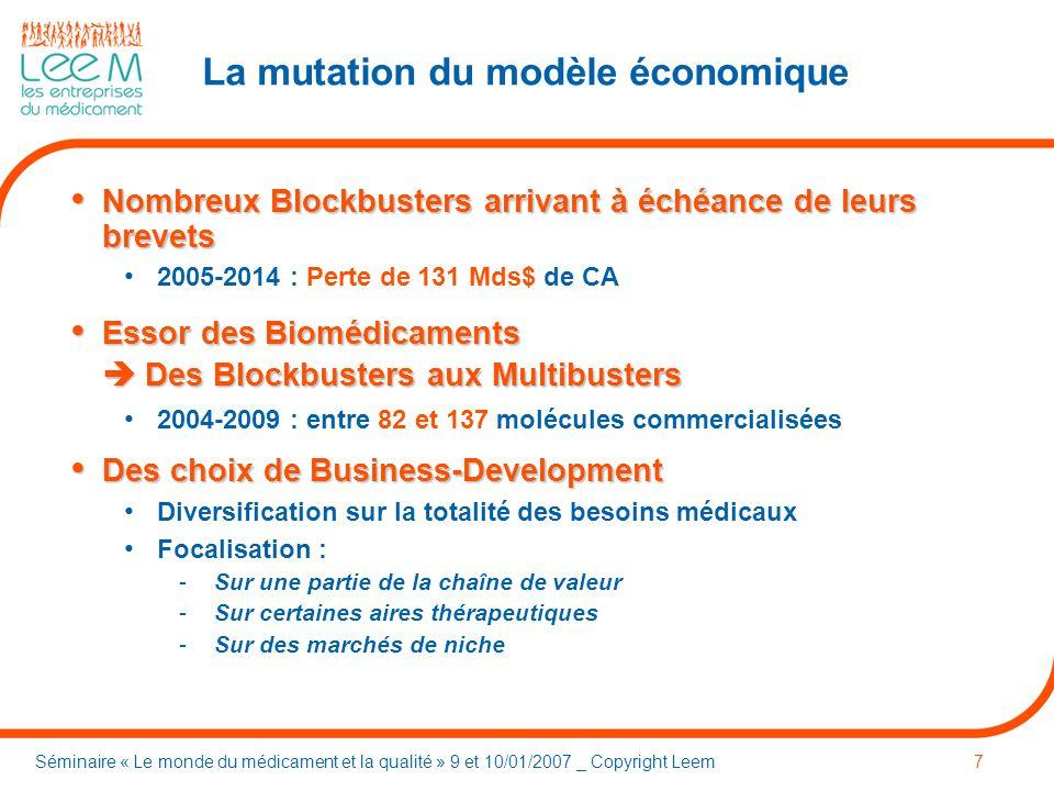 Séminaire « Le monde du médicament et la qualité » 9 et 10/01/2007 _ Copyright Leem8 Le marché des Génériques dans les zones « Amérique-Europe »