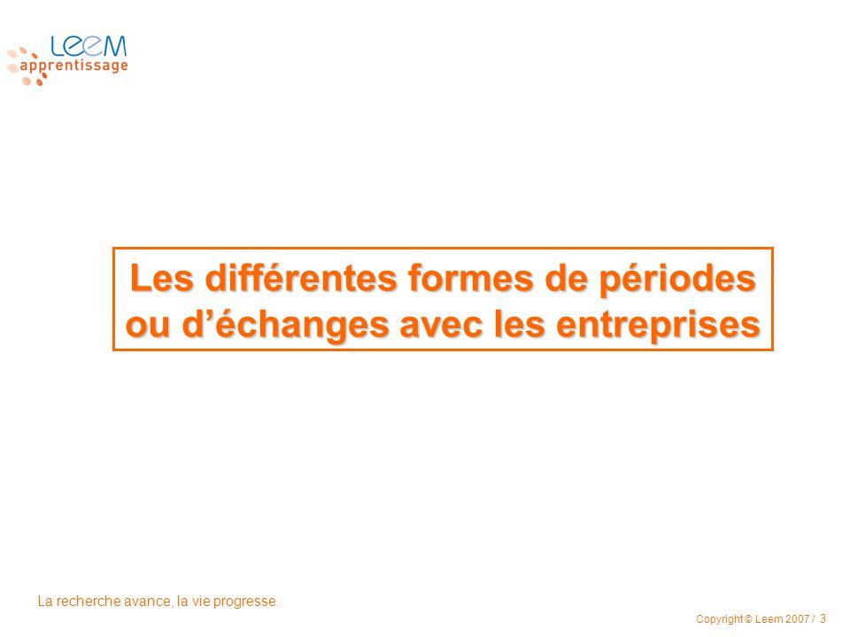La recherche avance, la vie progresse. Copyright © Leem 2007 / 3 Les différentes formes de périodes ou déchanges avec les entreprises