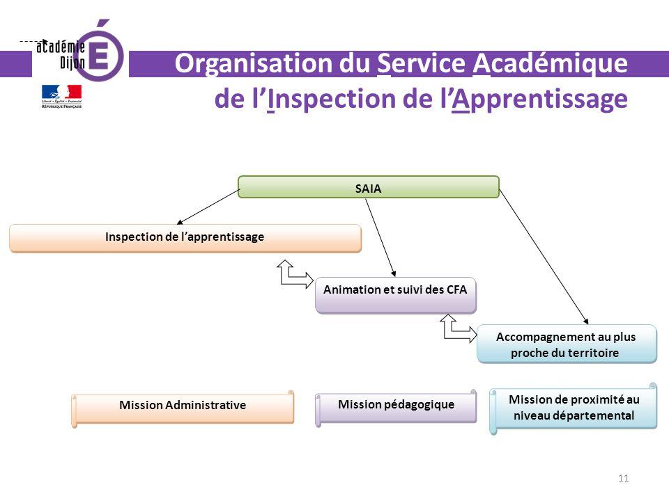 Organisation du Service Académique de lInspection de lApprentissage Inspection de lapprentissage Animation et suivi des CFA Accompagnement au plus pro