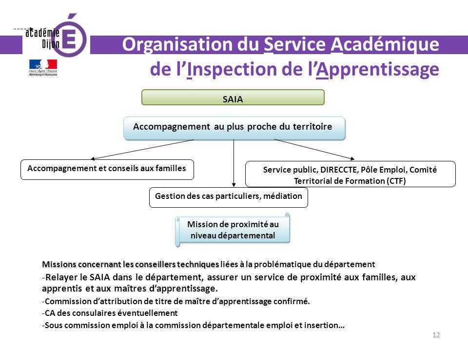 Organisation du Service Académique de lInspection de lApprentissage Accompagnement au plus proche du territoire Accompagnement et conseils aux famille