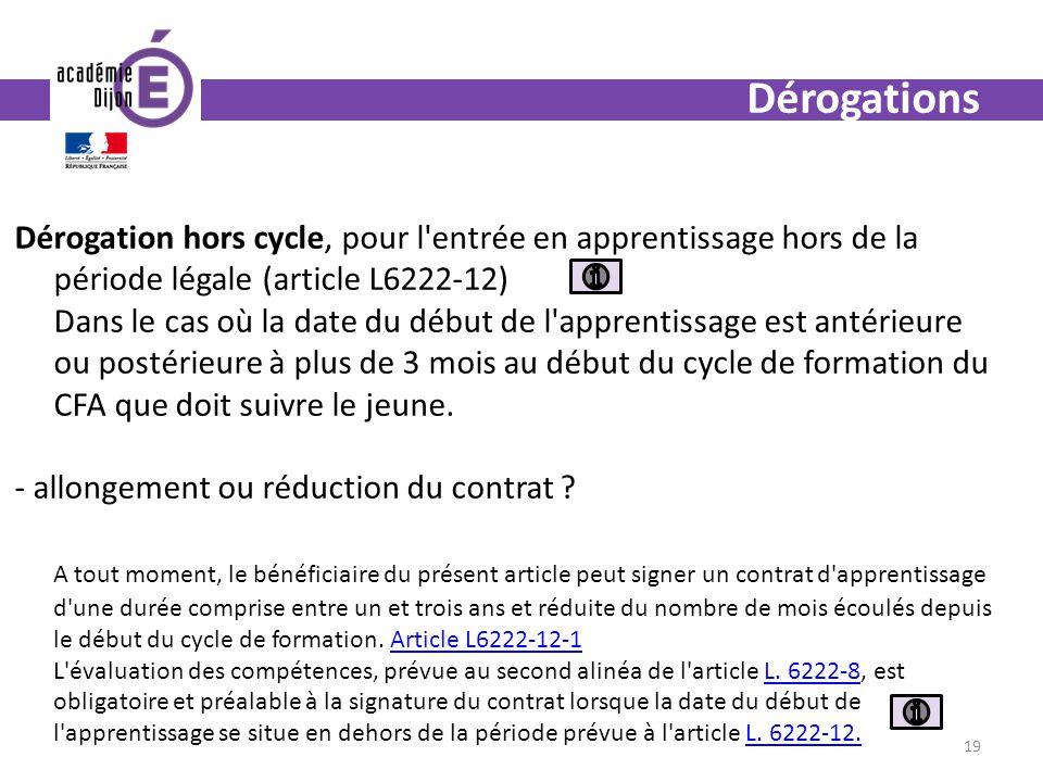 Dérogations Dérogation hors cycle, pour l'entrée en apprentissage hors de la période légale (article L6222-12) Dans le cas où la date du début de l'ap