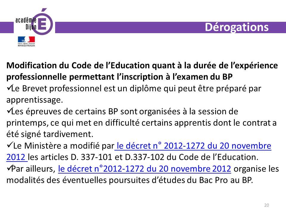 Dérogations Modification du Code de lEducation quant à la durée de lexpérience professionnelle permettant linscription à lexamen du BP Le Brevet professionnel est un diplôme qui peut être préparé par apprentissage.