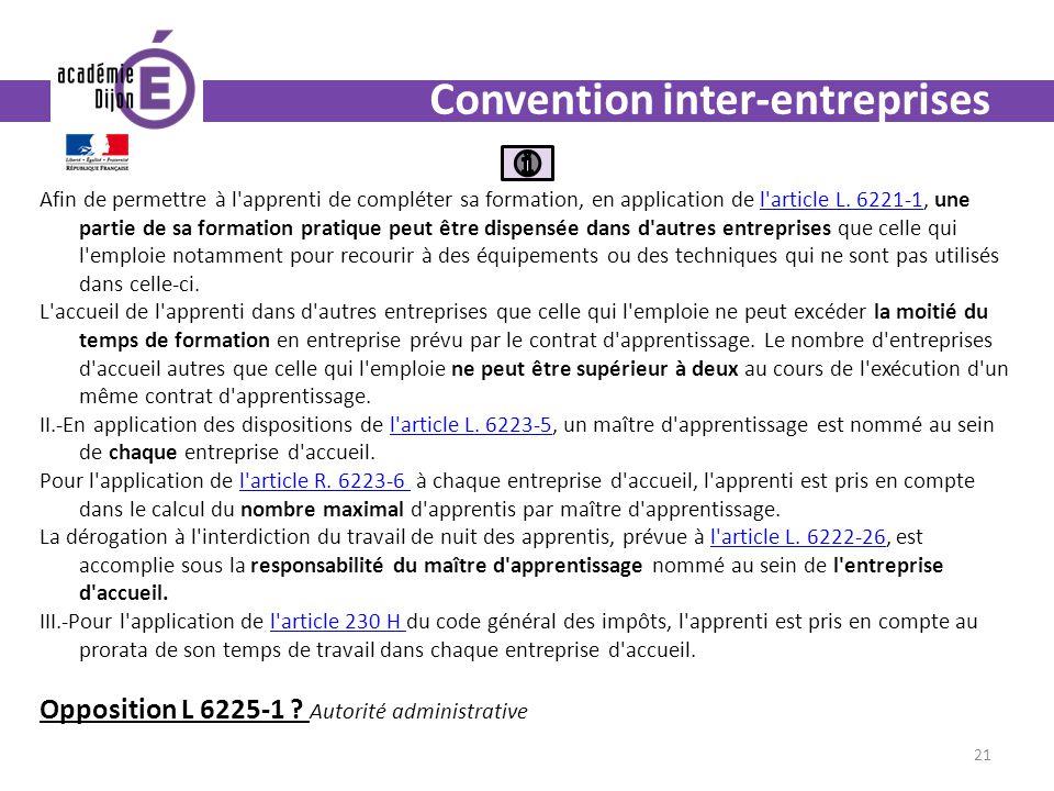 Convention inter-entreprises Afin de permettre à l apprenti de compléter sa formation, en application de l article L.