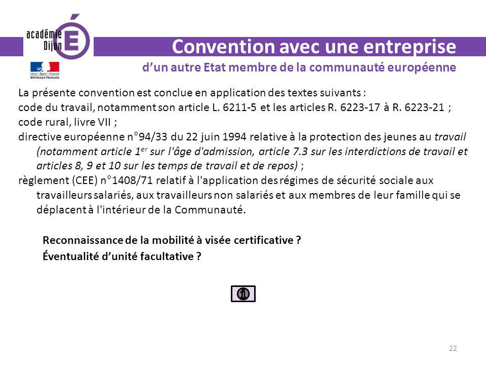 Convention avec une entreprise dun autre Etat membre de la communauté européenne La présente convention est conclue en application des textes suivants : code du travail, notamment son article L.