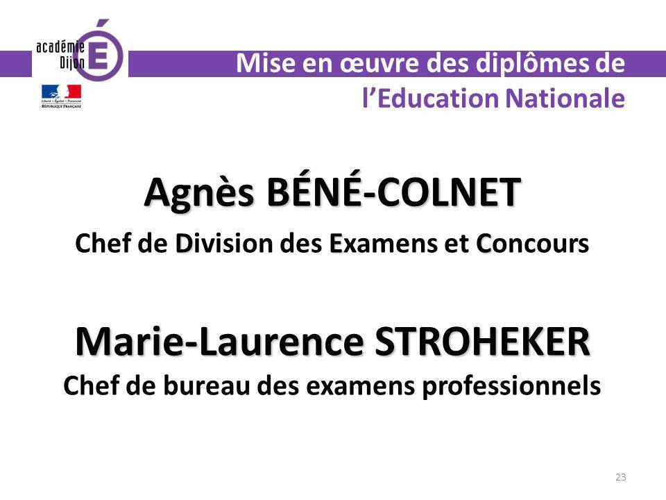 Agnès BÉNÉ-COLNET DEC Chef de Division des Examens et Concours Marie-Laurence STROHEKER Marie-Laurence STROHEKER Chef de bureau des examens profession