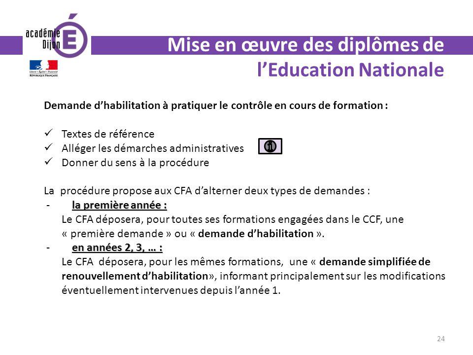 Mise en œuvre des diplômes de lEducation Nationale Demande dhabilitation à pratiquer le contrôle en cours de formation : Textes de référence Alléger l
