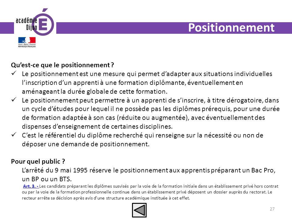 Positionnement Quest-ce que le positionnement ? Le positionnement est une mesure qui permet dadapter aux situations individuelles linscription dun app