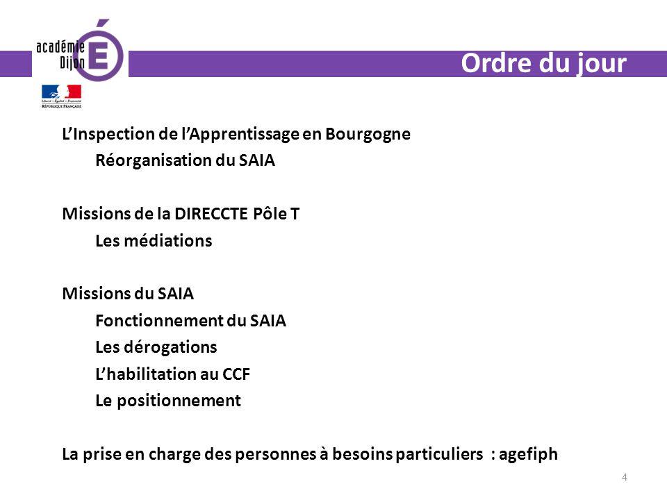 Ordre du jour LInspection de lApprentissage en Bourgogne Réorganisation du SAIA Missions de la DIRECCTE Pôle T Les médiations Missions du SAIA Fonctio