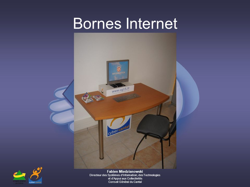 Fabien Miedzianowski Directeur des Systèmes dInformation, des Technologies et dAppui aux Collectivités Conseil Général du Cantal Bornes Internet
