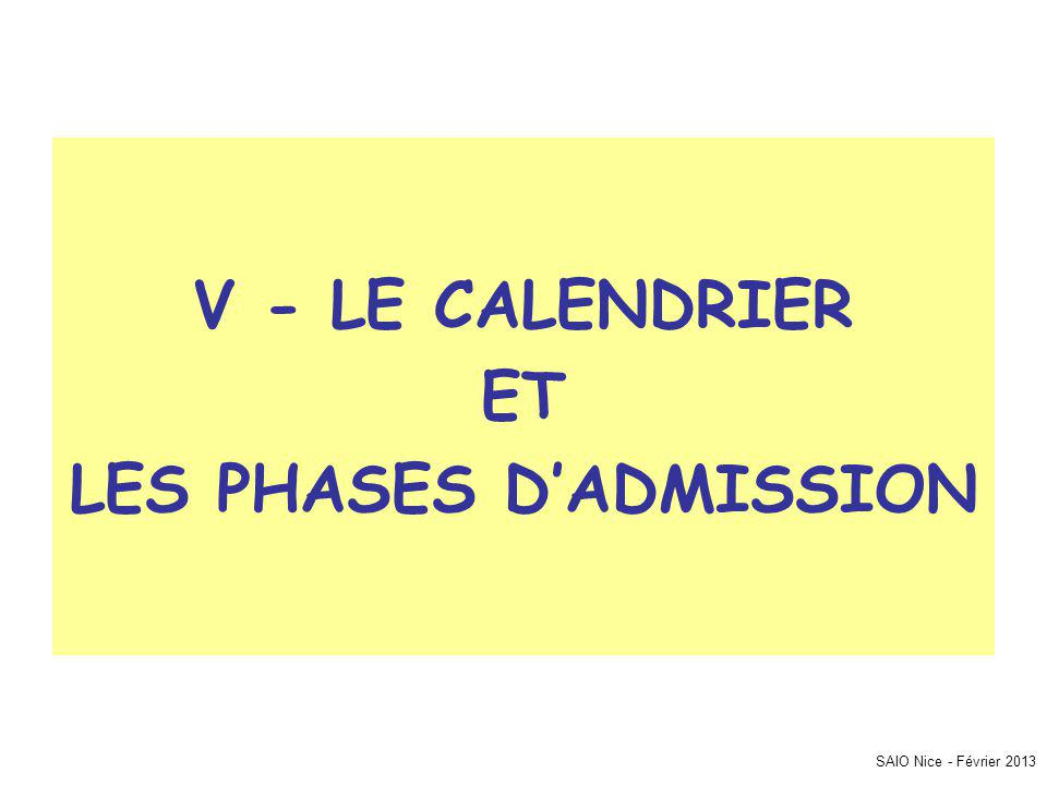 SAIO Nice - Février 2013 V - LE CALENDRIER ET LES PHASES DADMISSION
