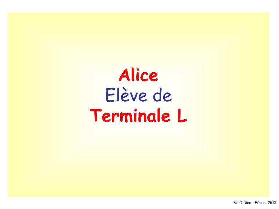 SAIO Nice - Février 2013 Alice Elève de Terminale L