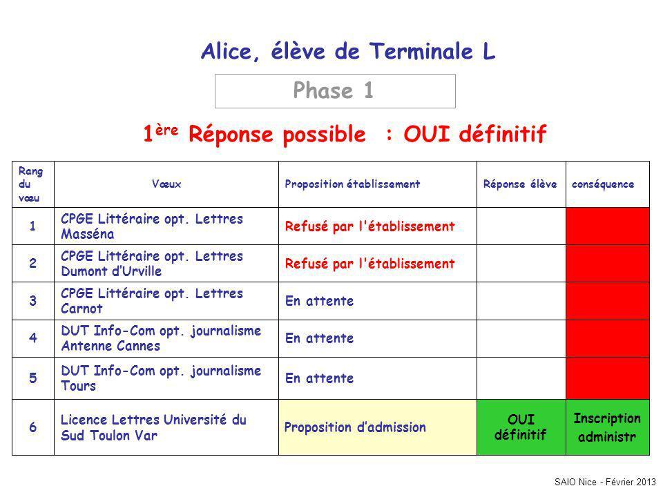 SAIO Nice - Février 2013 Alice, élève de Terminale L Inscription administr OUI définitif Proposition dadmission Licence Lettres Université du Sud Toulon Var 6 En attente DUT Info-Com opt.