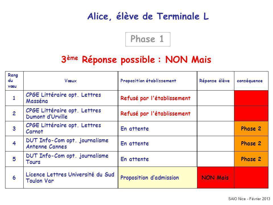 SAIO Nice - Février 2013 conséquenceRéponse élèveProposition établissementVœux Rang du vœu NON MaisProposition dadmission Licence Lettres Université du Sud Toulon Var 6 Phase 2En attente DUT Info-Com opt.
