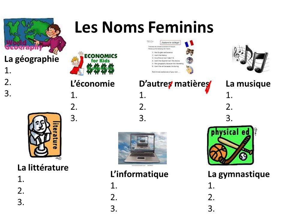 Les Noms Feminins Léconomie 1. 2. 3. La géographie 1. 2. 3. La littérature 1. 2. 3. Linformatique 1. 2. 3. Dautres matières 1. 2. 3. La gymnastique 1.