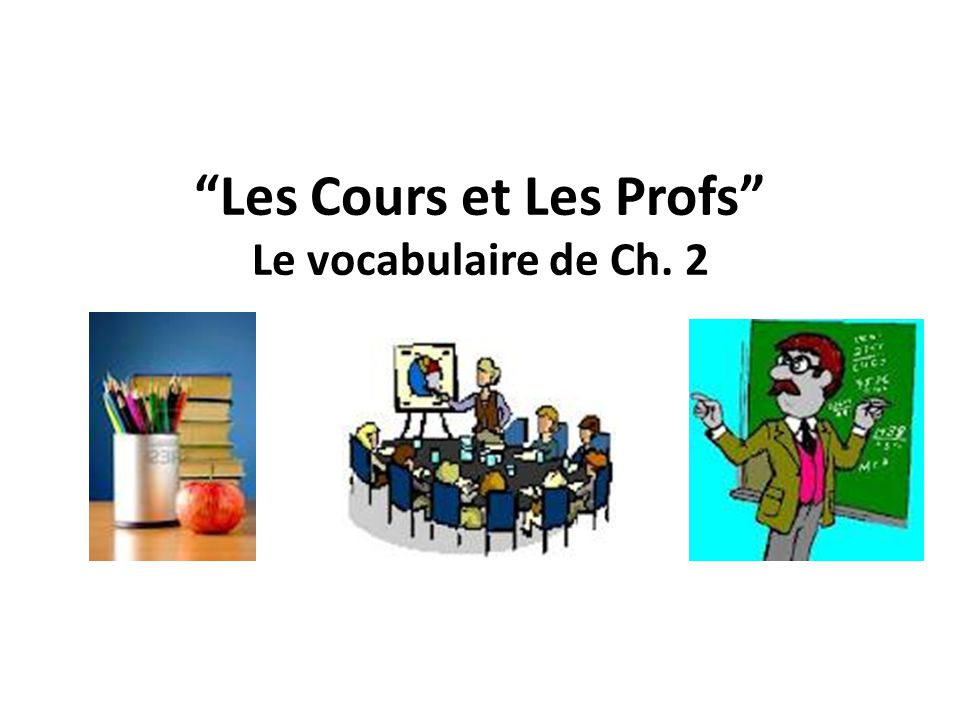 Les Cours et Les Profs Le vocabulaire de Ch. 2