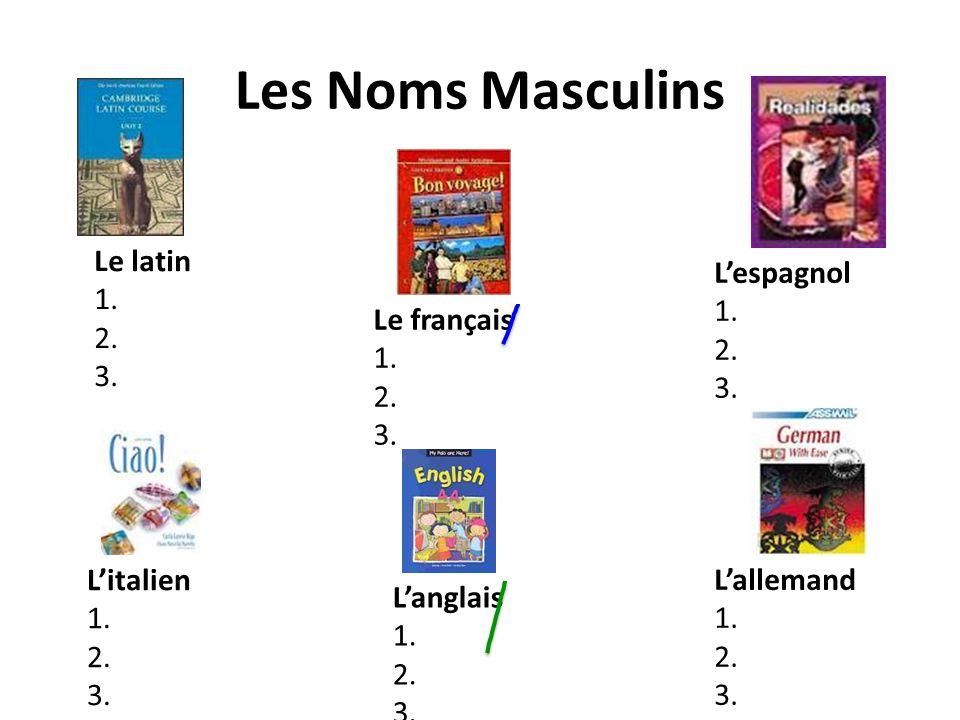 Les Noms Masculins Le latin 1. 2. 3. Le français 1. 2. 3. Lespagnol 1. 2. 3. Litalien 1. 2. 3. Lallemand 1. 2. 3. Langlais 1. 2. 3.