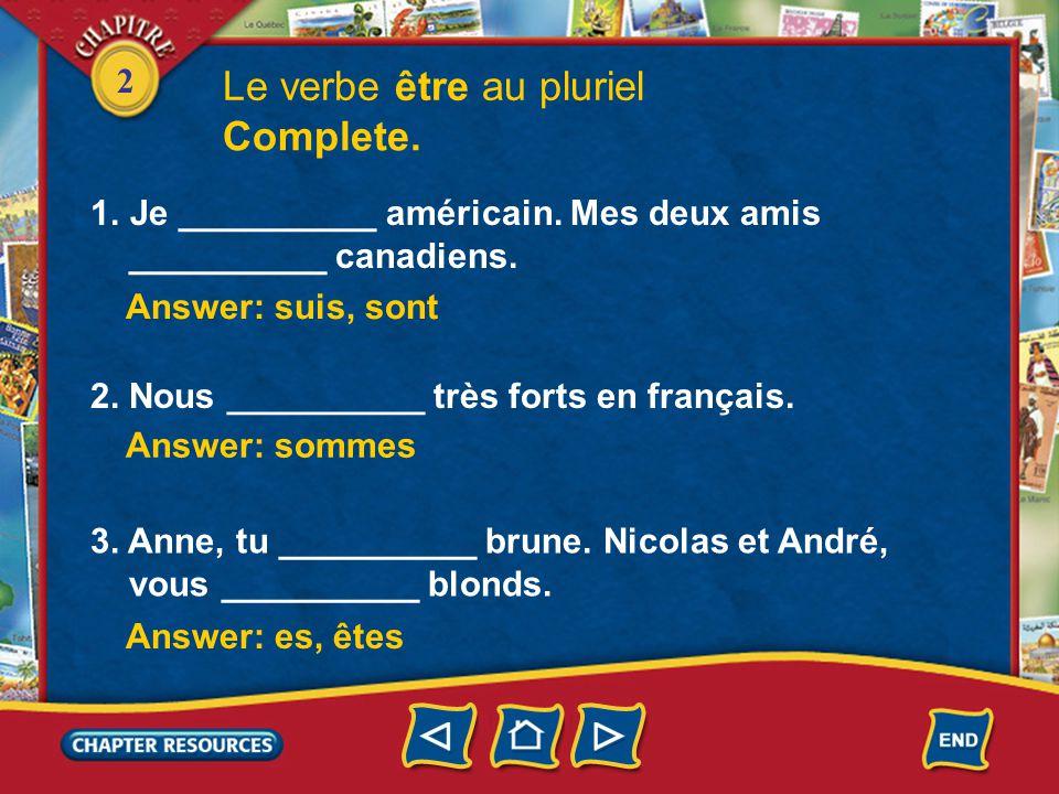2 Le verbe être au pluriel Complete. 1.Je __________ américain. Mes deux amis __________ canadiens. Answer: suis, sont 2. Nous __________ très forts e