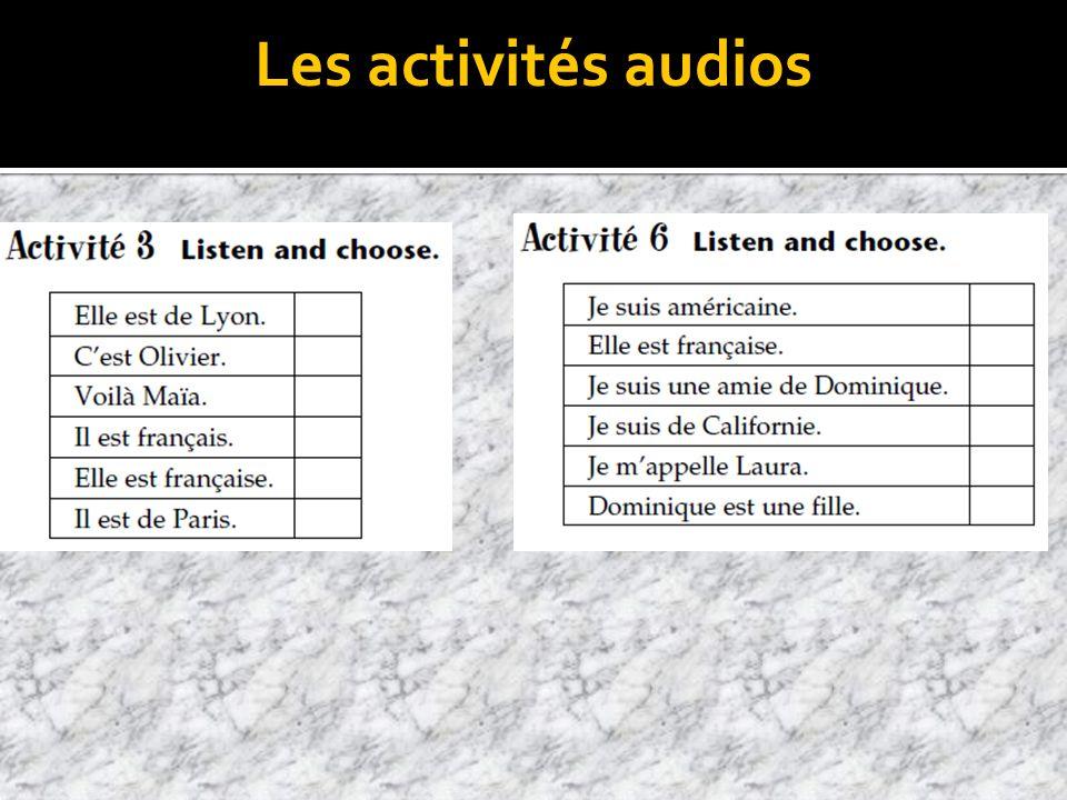 Les activités audios