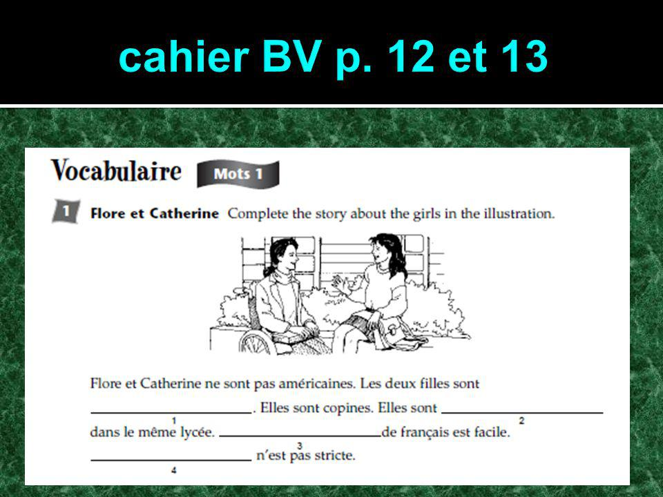 Activités Copiez lagenda Copiez lagenda Révision: cahier BV p.