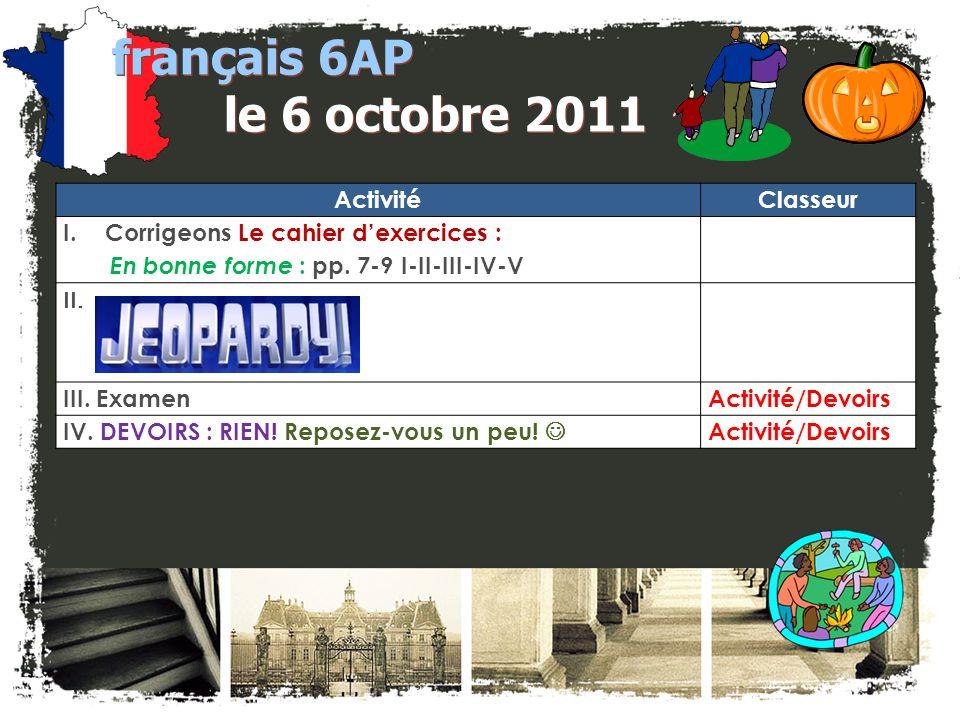 français 6AP le 4 octobre 2011
