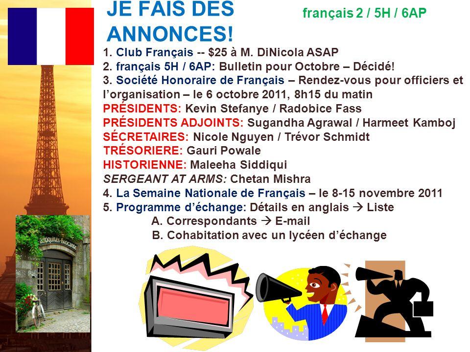 français 5H le 3 octobre 2011 ActivitéClasseur EXAMEN (2x) : le 5-6 octobre 2011 Imaginez !: pp.